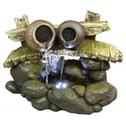 2 Pots on Bridge w/ White LED Tabletop Fountain