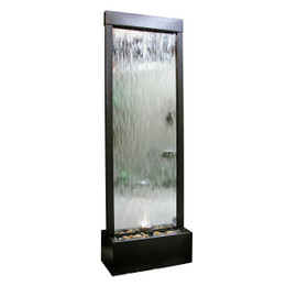 Mirror Waterfall-Silver with Decorative Stones & Light