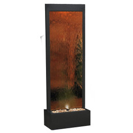 Mirror Waterfall-Bronze w/ Decorative Stones & Light
