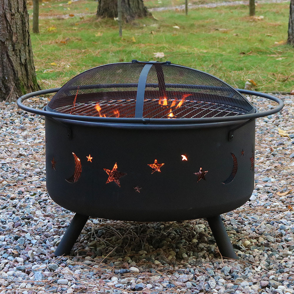 sunnydaze cosmic fire pit with grill u0026 spark screen