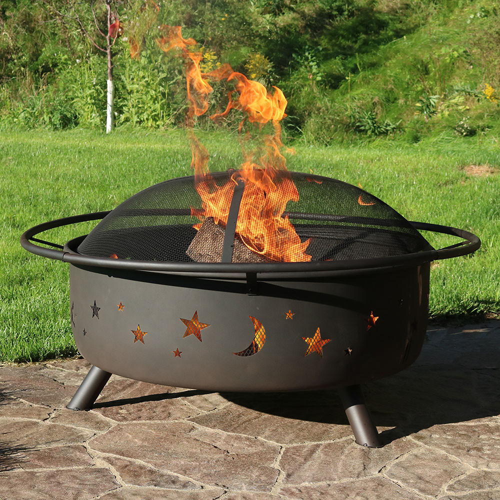 Sunnydaze 42 inch large cosmic outdoor patio fire pit for Big fire pit