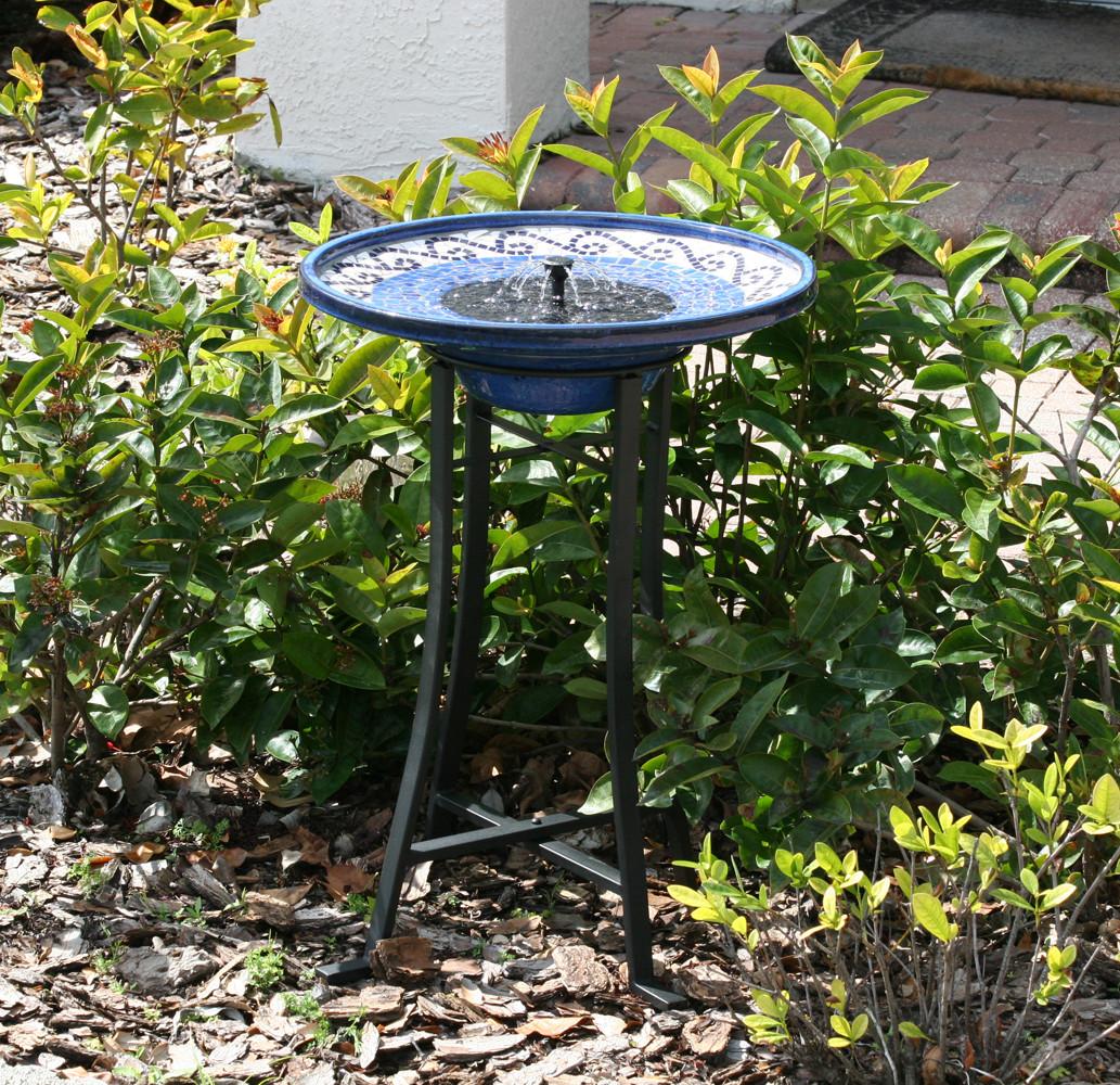Smart Solar Mosaic Ceramic Solar Birdbath Fountain Metal Stand Picture 305