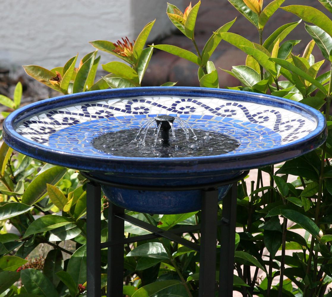 Mosaic Ceramic Solar Birdbath With Metal Stand Water