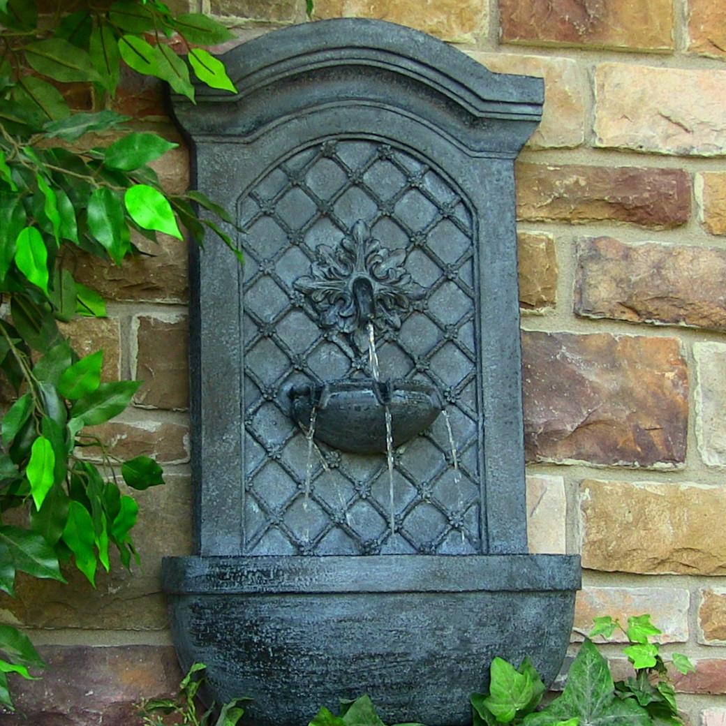 Sunnydaze decor rosette leaf outdoor wall fountain for Outdoor wall fountains