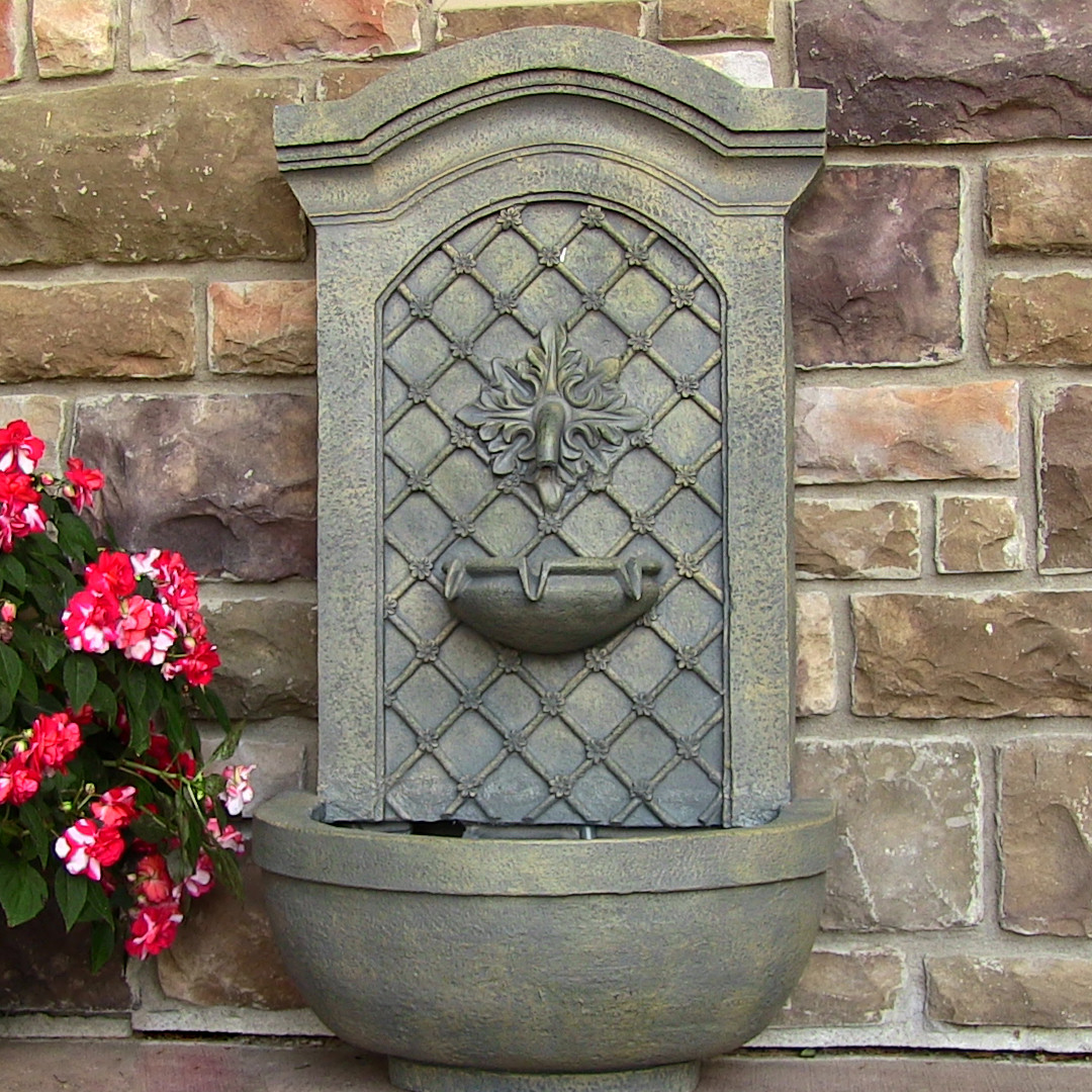 Sunnydaze rosette solar wall fountain outdoor fountain for Outdoor wall fountains