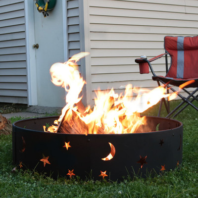 Sunnydaze Cosmic Stars and Moon Camping Fire Ring, 36 Inch Diameter