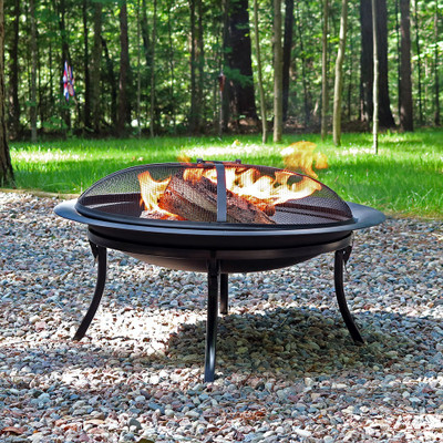 Sunnydaze 29 Inch Portable Folding Fire Pit with Carrying Case and Spark Screen