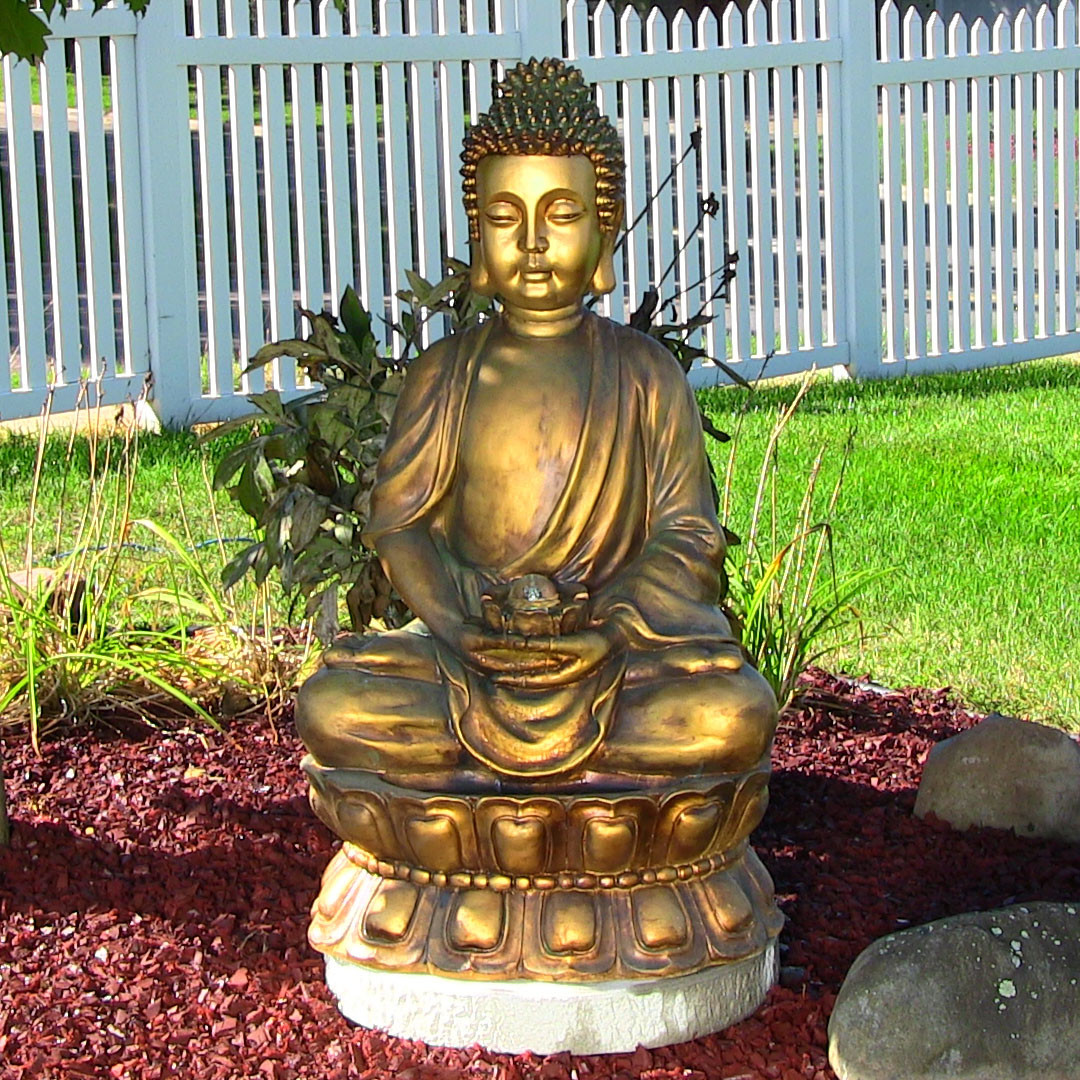 Sunnydaze Relaxed Buddha Fountain Light Tall Picture 170