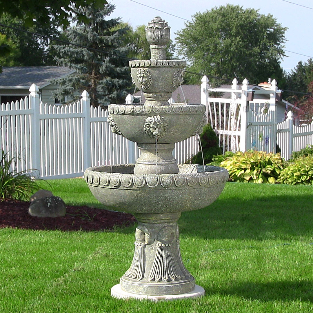 Sunnydaze Four Tier Lion Head Water Fountain Tall Picture 72