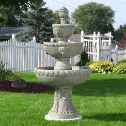 Sunnydaze Four Tier Lion Head Outdoor Water Fountain, Includes Electric Submersible Pump, 53 Inch Tall
