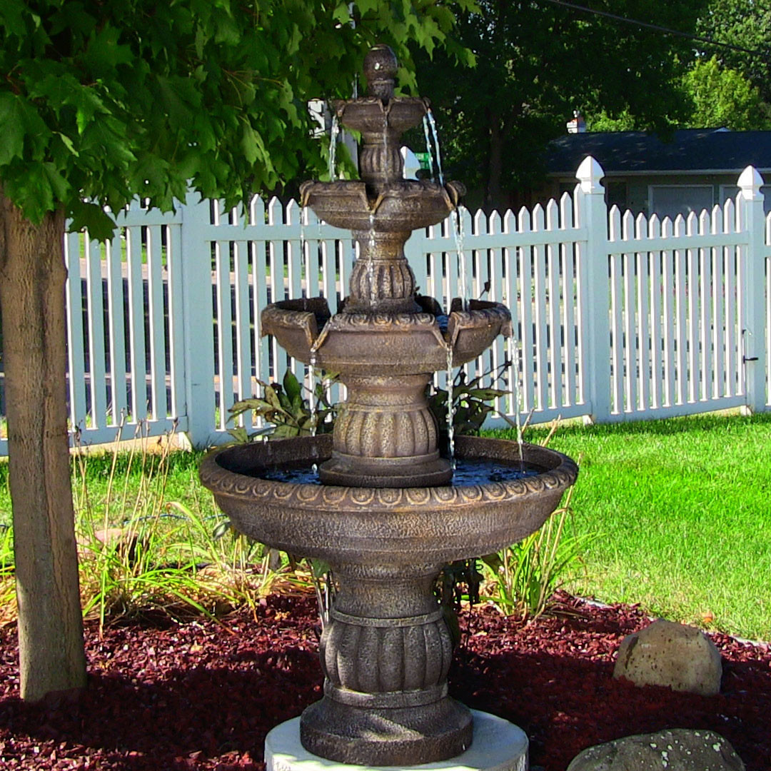 Sunnydaze Mediterranean 4-Tiered Outdoor Water Fountain ...