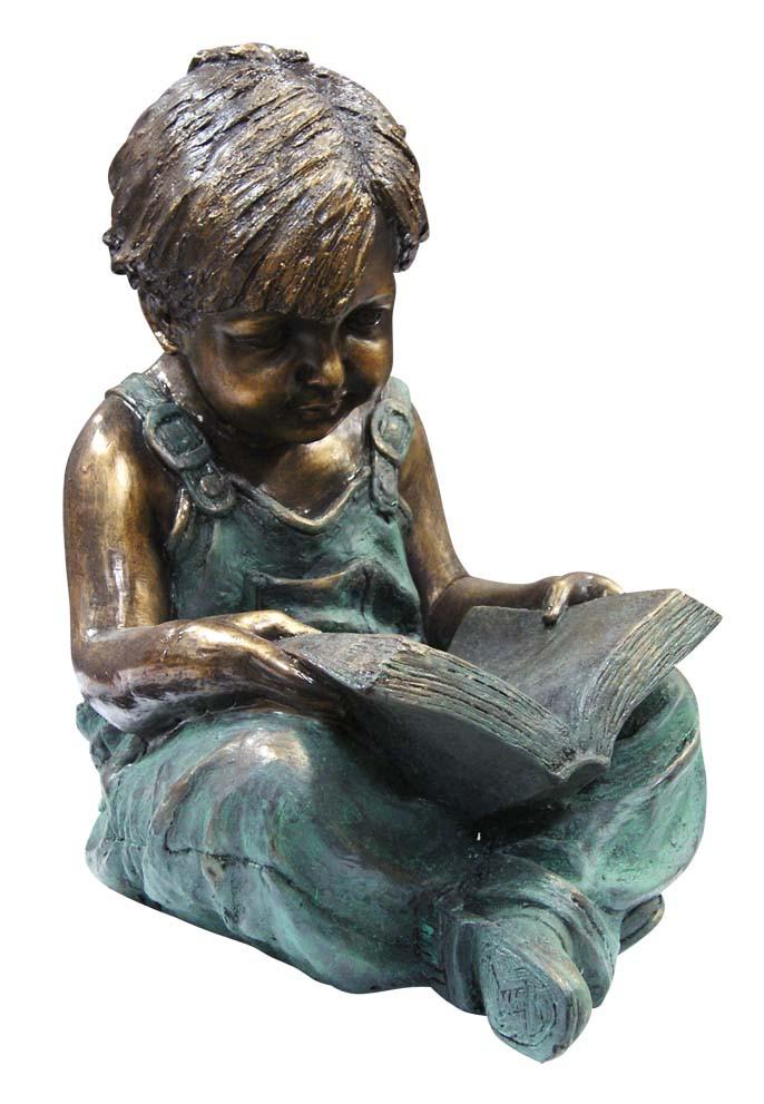 Alpine Boy Sitting Down Reading Book Garden Statue Picture 501