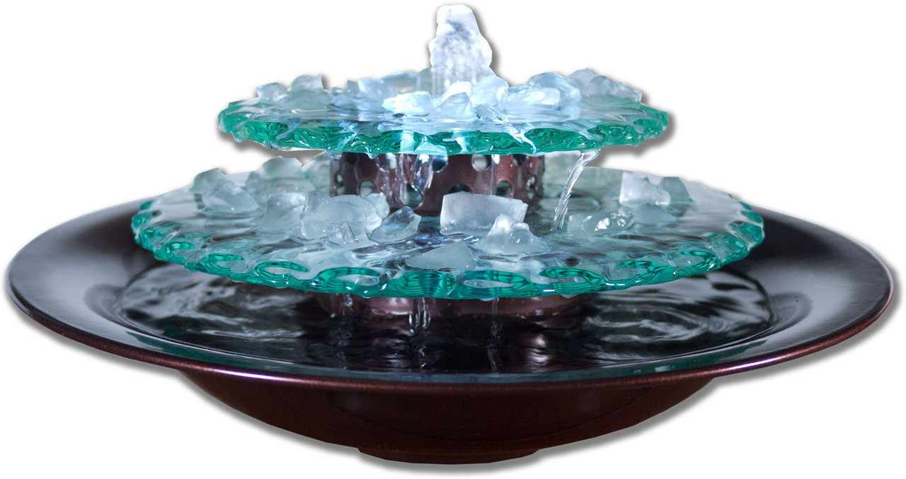 Moonlight Tabletop Fountain Dark Copper Bowl LED Light Picture 518