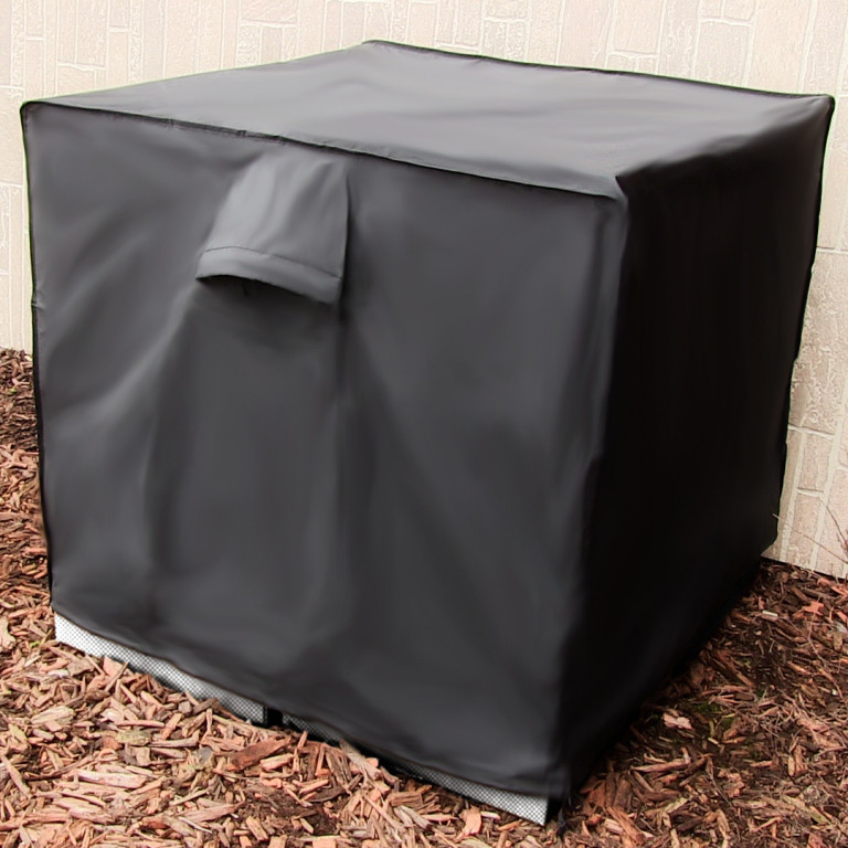 Sunnydaze Heavy-Duty Square Air Conditioner Cover, Black, 34 X 30 Inch FI-3430ACSBLK3
