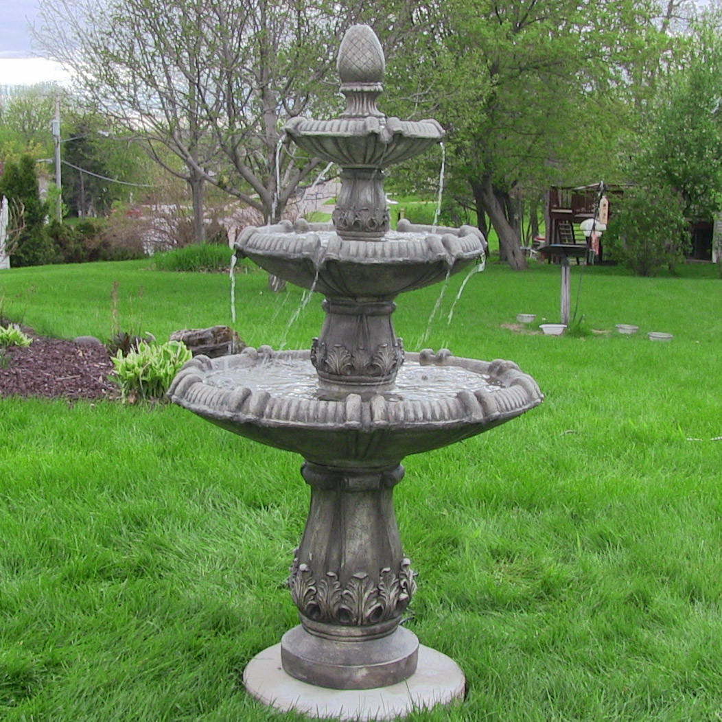 Sunnydaze Classic Pineapple Three Tier Fountain Greystone Tall Picture 77