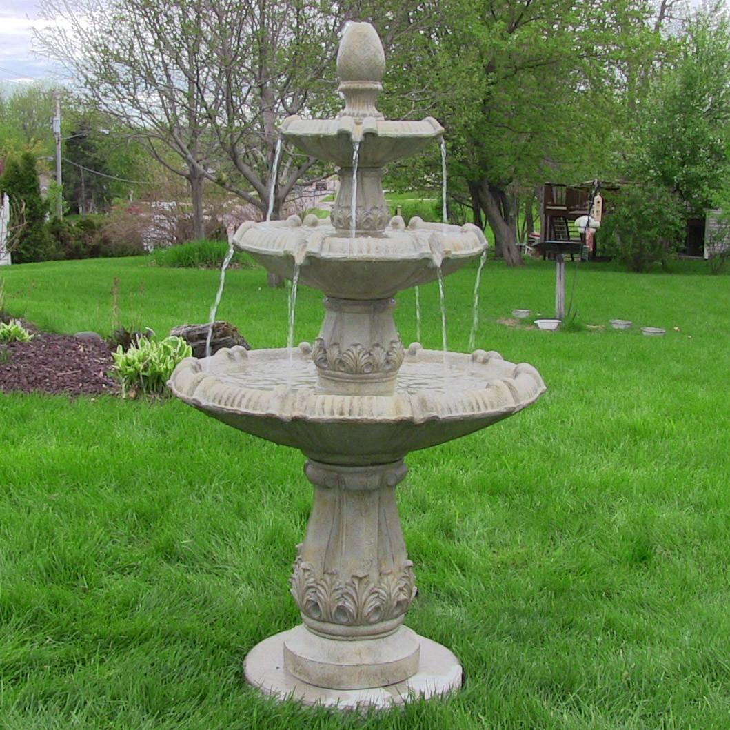Sunnydaze Classic Pineapple Three Tier Fountain Garden Stone Ta Picture 74