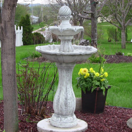 Beau Sunnydaze 2 Tier Arcade Solar On Demand Outdoor Water Fountain With LED  Light, White