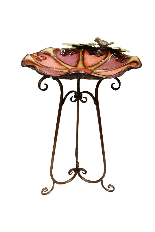 Alpine Sculptured Metal Colorful Birdbath Bird Leaves Image 692