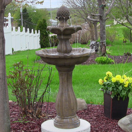 Sunnydaze Two-Tier Pineapple Solar-on-Demand Fountain, Earth Finish, 46 Inch Tall