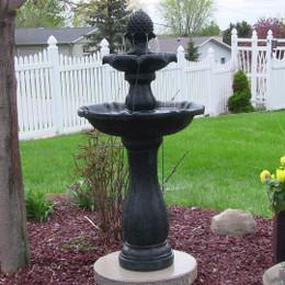 Sunnydaze Two Tier Pineapple Solar On Demand Fountain, Black Finish, 46