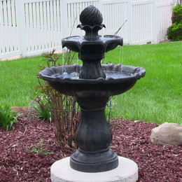 Sunnydaze Two Tier Solar On Demand Outdoor Water Fountain, Black Finish, 35