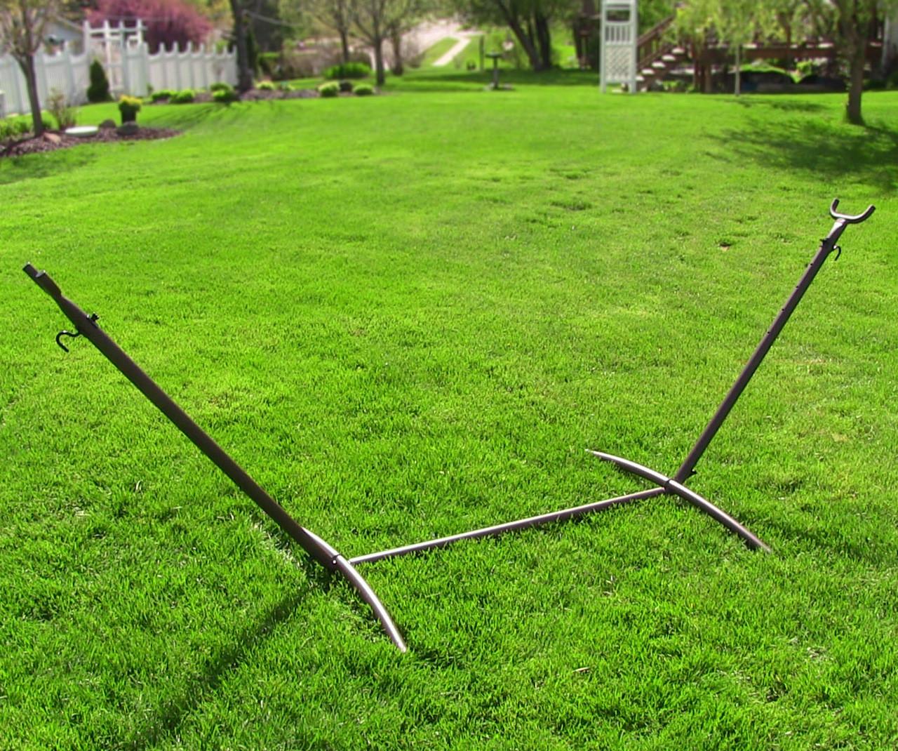 bronze outdoors     sunnydaze 2 person space saving brazilian hammock stand portable      rh   serenityhealth
