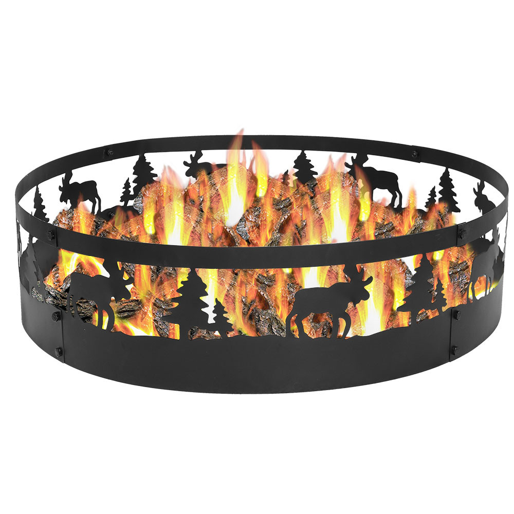 Sunnydaze 36 wild moose campfire ring fire pits for Porch decorations for sale