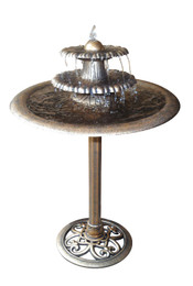 Alpine Three Tier Fountain Birdbath - Bronze
