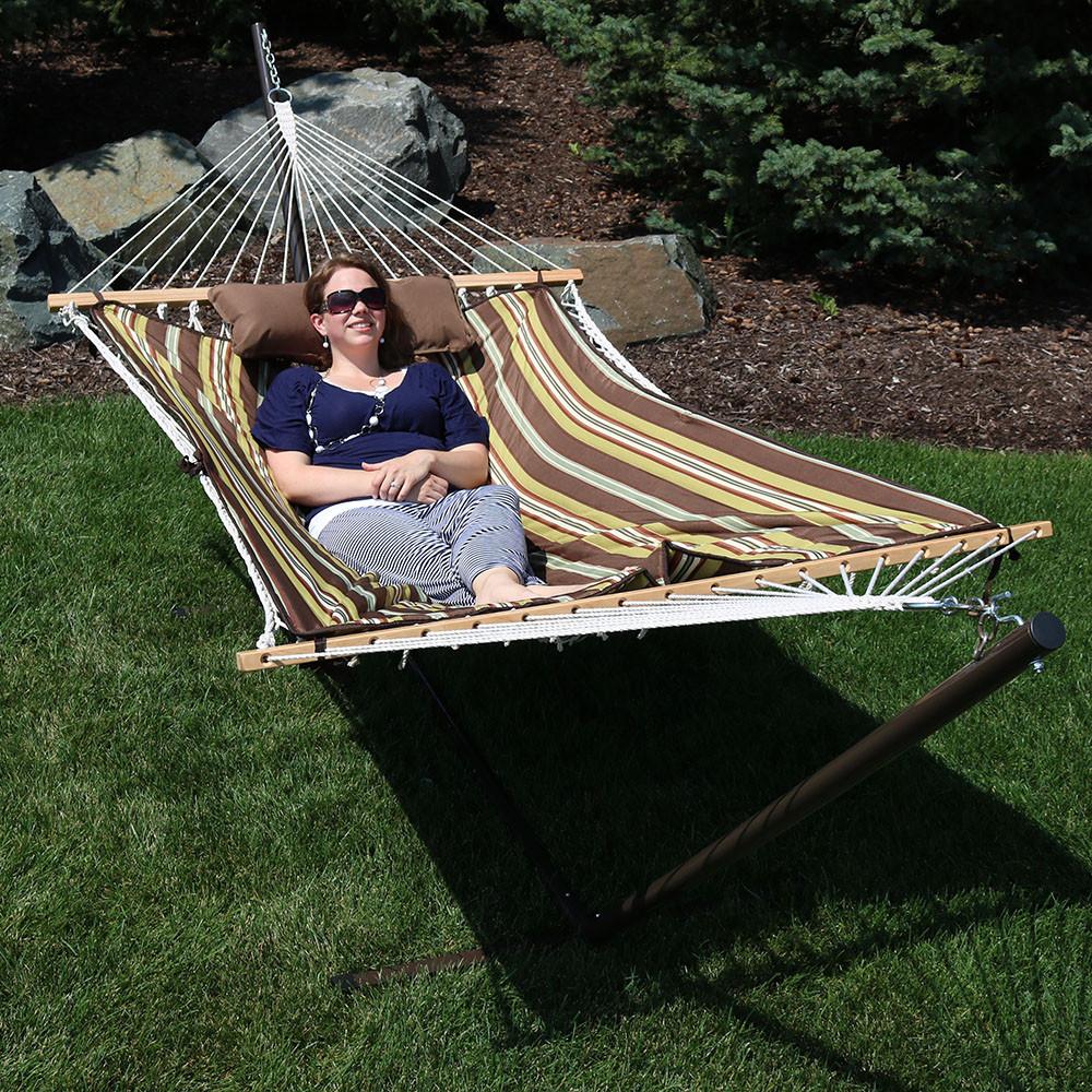 desert stripe folded  desert stripe outdoors     sunnydaze striped rope hammock with stand pad  u0026 pillow  rh   serenityhealth