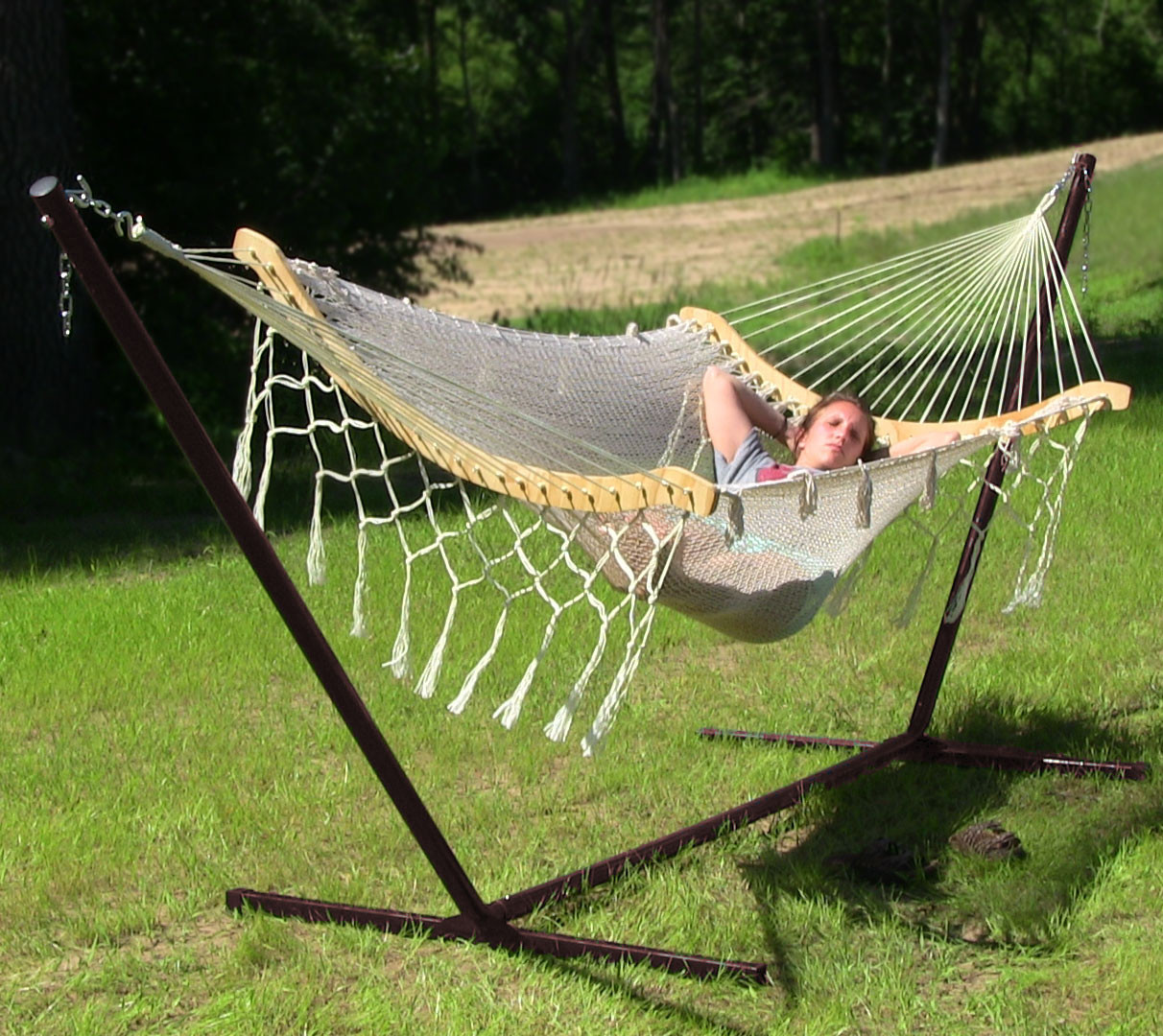 Natural. - Sunnydaze One-Person Mayan Hammock With Stand – 15'