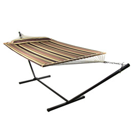 Sunnydaze 2 Person Freestanding Quilted Fabric Spreader Bar Hammock with Stand, Sandy Beach