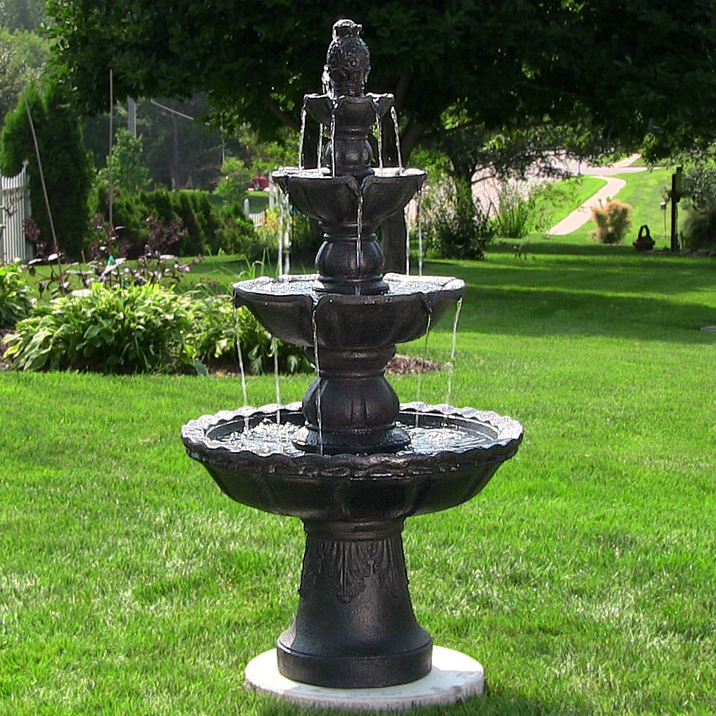 Sunnydaze 4-Tiered Pineapple Electric Outdoor Water Fountain