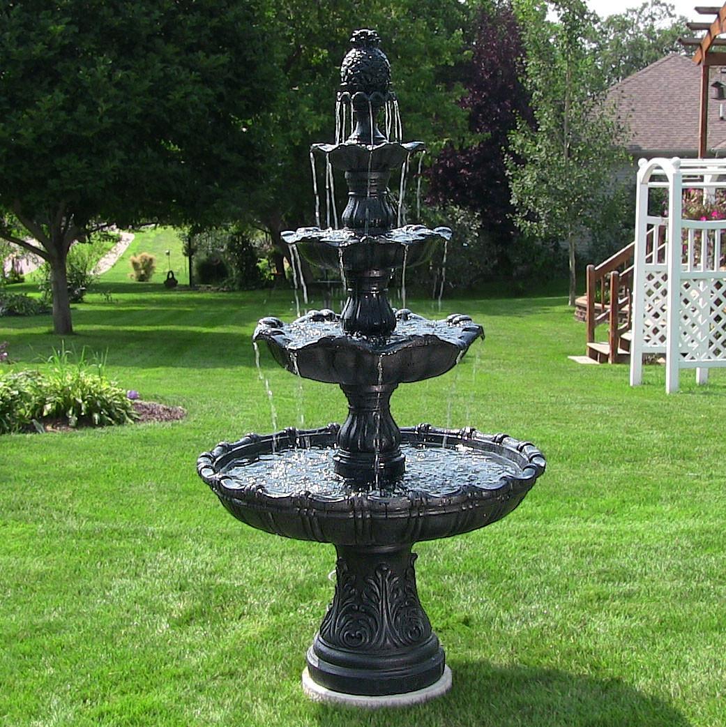 Sunnydaze 4-Tier Grand Courtyard Outdoor Fountain, Black