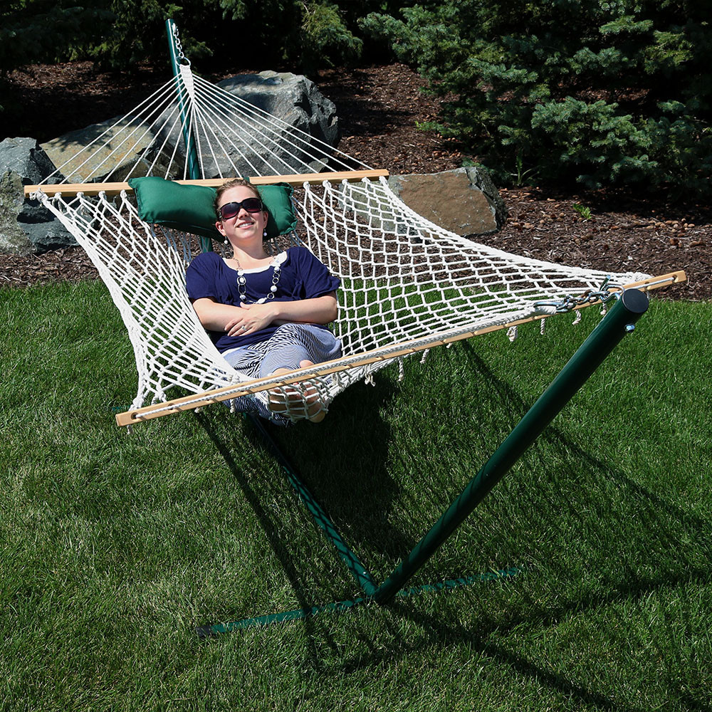 green white stripe rope hammock and stand  bo outdoors without pad     sunnydaze green and white stripe cotton rope hammock with 12 foot      rh   serenityhealth
