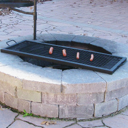 Sunnydaze X Marks Rectangle Fire Pit Cooking Grill