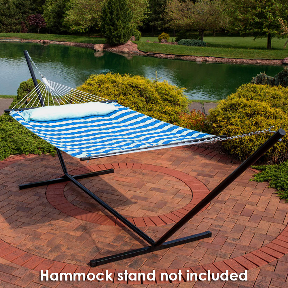 image 3     sunnydaze 2 person quilted fabric hammock with spreader bars      rh   serenityhealth