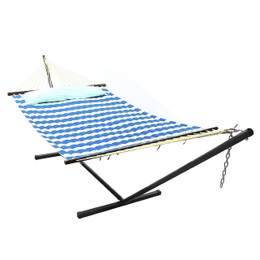 Sunnydaze 2 Person Freestanding Quilted Fabric Spreader Bar Hammock with Stand, Royal Blue Stripe