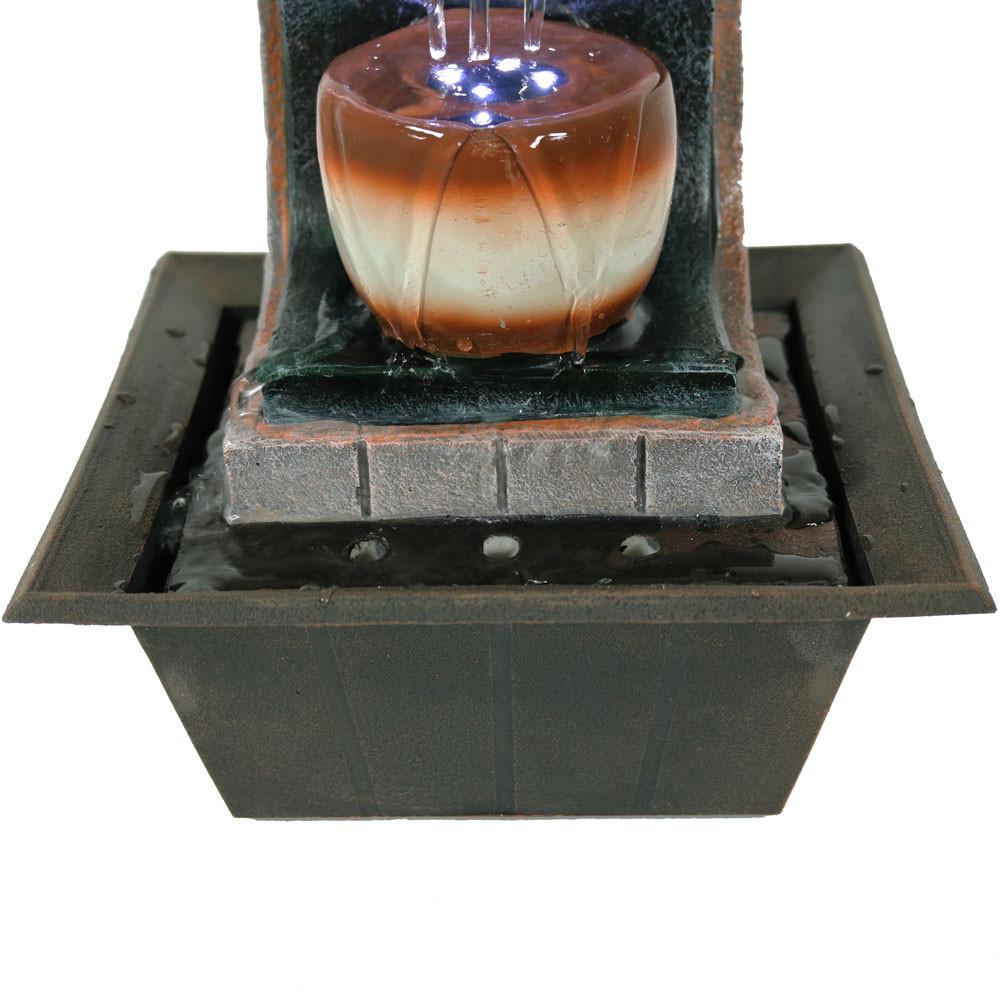 Meditation Tabletop Fountain W Led Lights By Sunnydaze