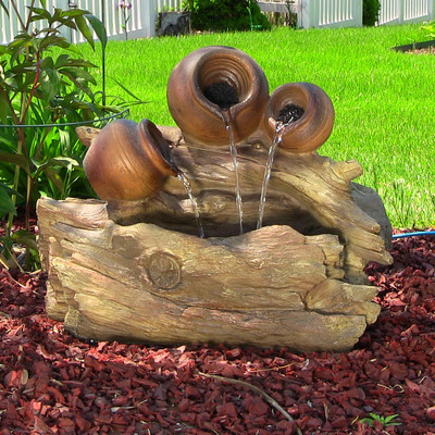 Tree Trunks And Pitchers Fountain W Led Lights By