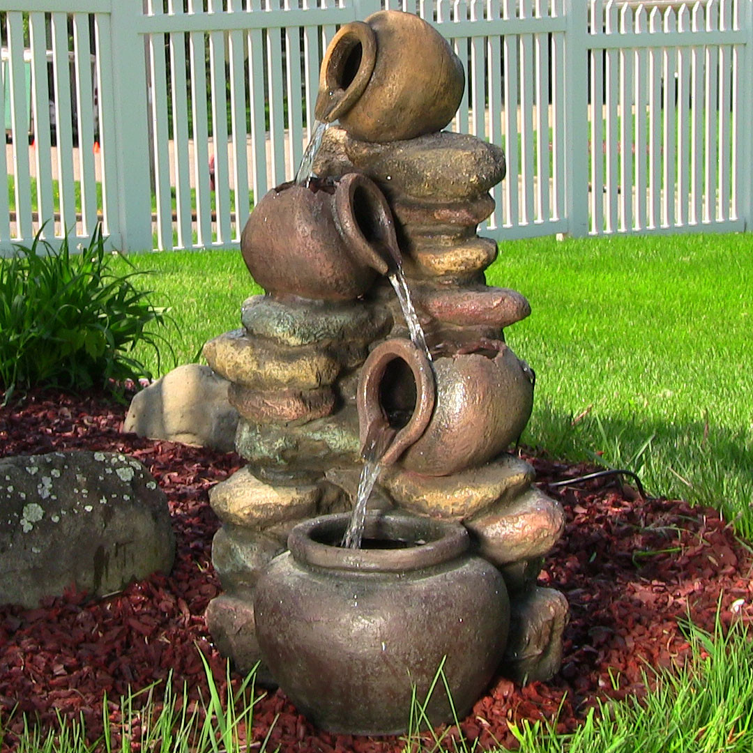 Sunnydaze Honey Pot Stones Outdoor Fountain LED Lights Tall Picture 166