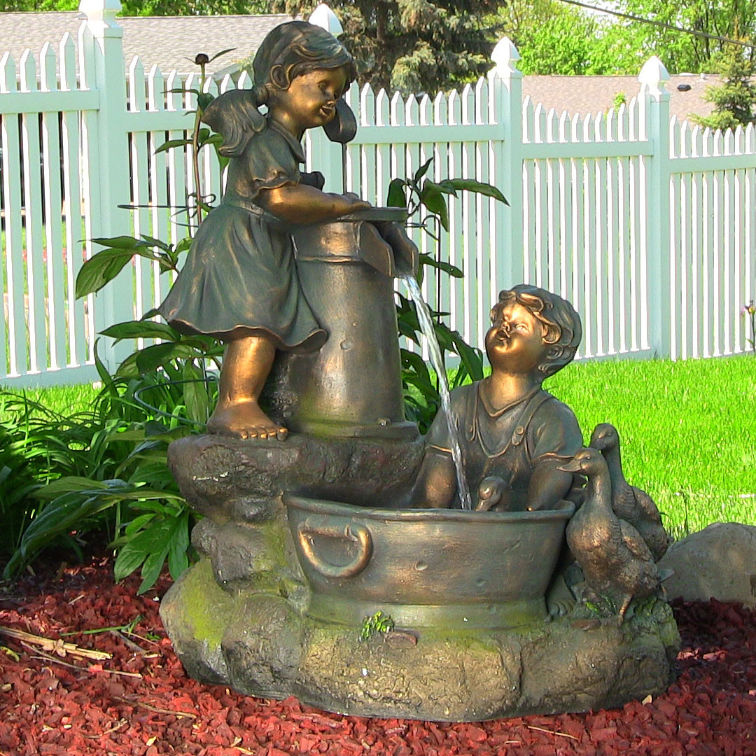 Sunnydaze Country Children Water Pump Fountain LED Lights Tall Picture 83