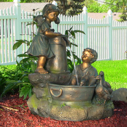 Country Children and Water Pump Fountain w/LED Lights by Sunnydaze Decor
