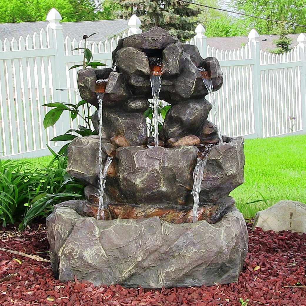 Sunnydaze Layered Rock Waterfall Outdoor Fountain LED Lights Tall Photo
