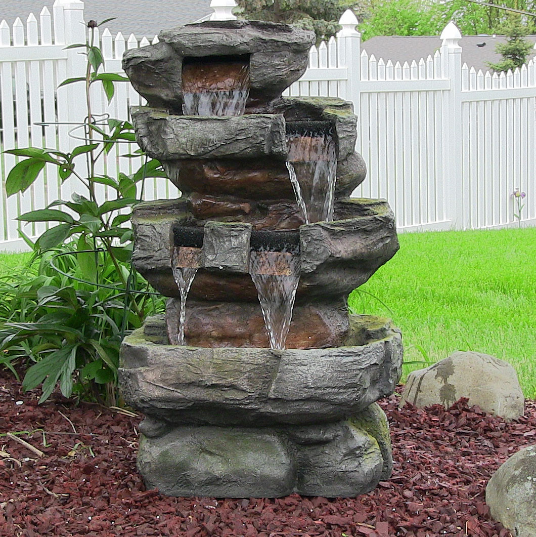 Sunnydaze Tiered Stone Waterfall LED Lights Tall Picture 236