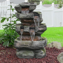 sunnydaze outdoor electric tiered stone waterfall with led lights 24 inch tall - Waterfall Fountain