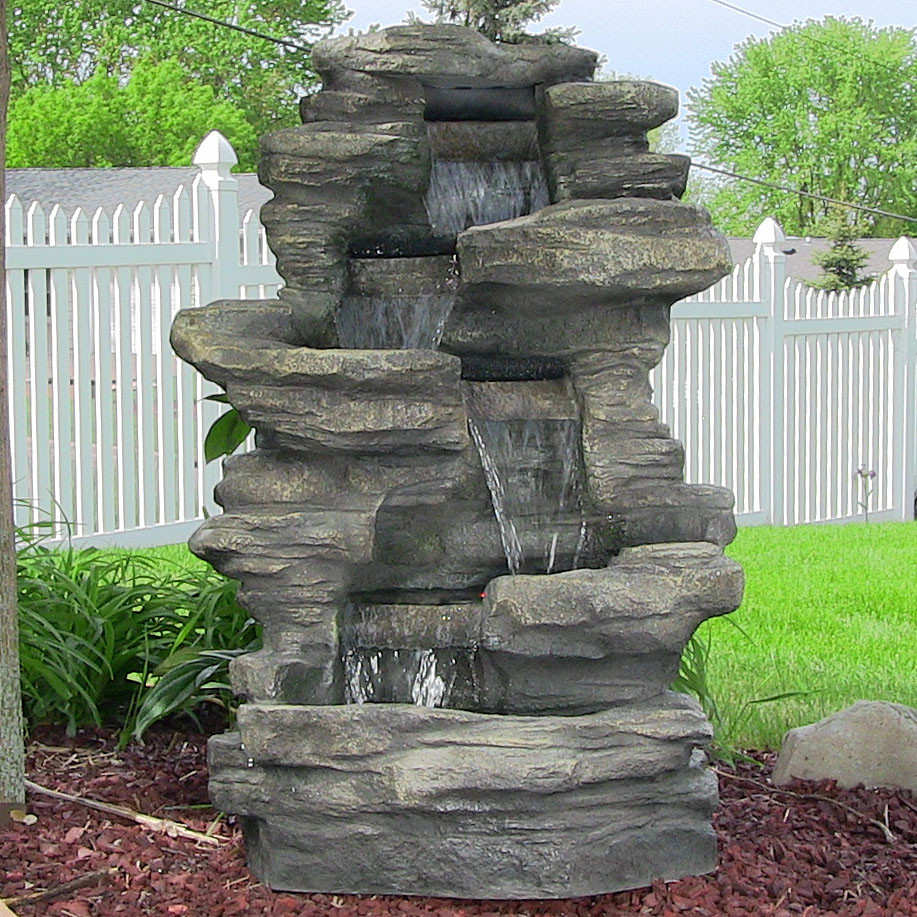 Sunnydaze Stacked Shale Outdoor Water Fountain LED Lights Tall Picture 90