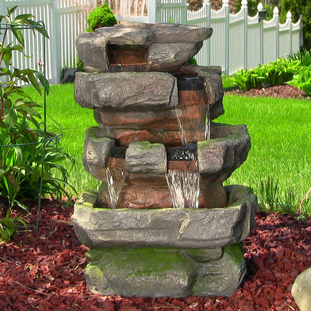 Sunnydaze Large Rock Quarry Fountain LED Lights Tall Picture 135