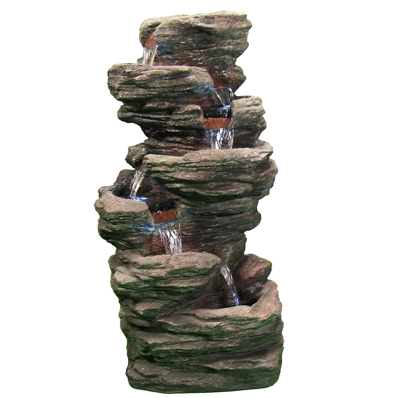 ... Sunnydaze Multi Level Flatrock Fountain With LED Lights ...