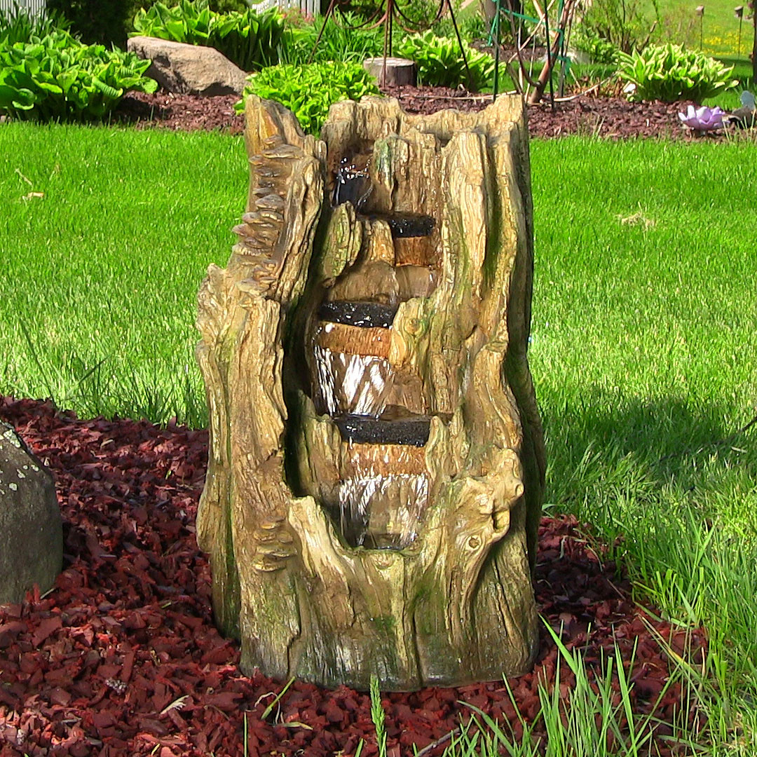 Sunnydaze Tree Trunk Falls Fountain LED Lights Tall Picture 323