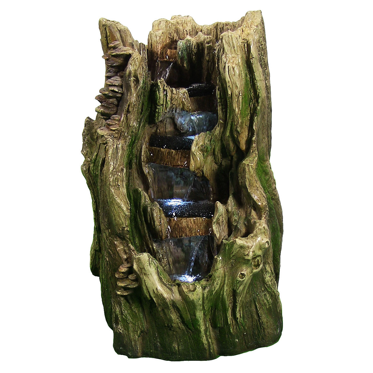 Image 1 · Image 2 ... - Sunnydaze Tree Trunk Falls Outdoor Water Fountain With LED Lights